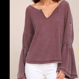 Free People | Dahlia Bell Sleeve Thermal Knit Top